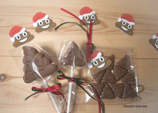 Christmas Belgian chocolate Poop/poo family emoji set lollipops/lollies/ribbons