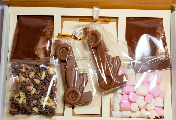 Luxury Belgian Hot Chocolate Gift Box for two. Racing cars theme